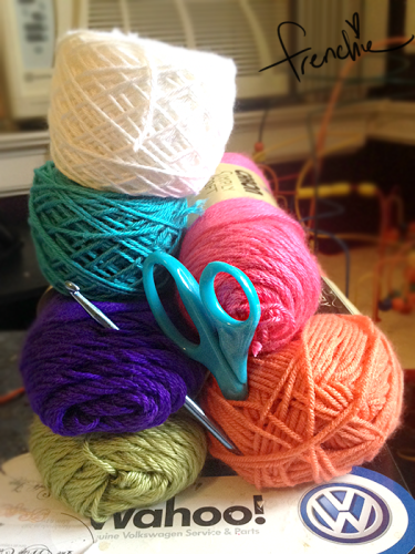 My yarn colours, minus the yellow which I accidentally packed up!